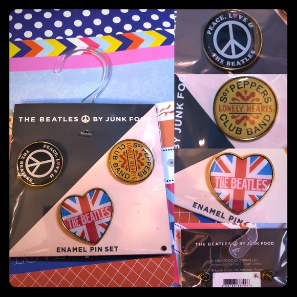 Junk Food Clothing Accessories The Beatles Enamel Pins By Junk